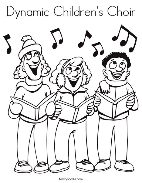 468x605 Dynamic Children's Choir Coloring Page
