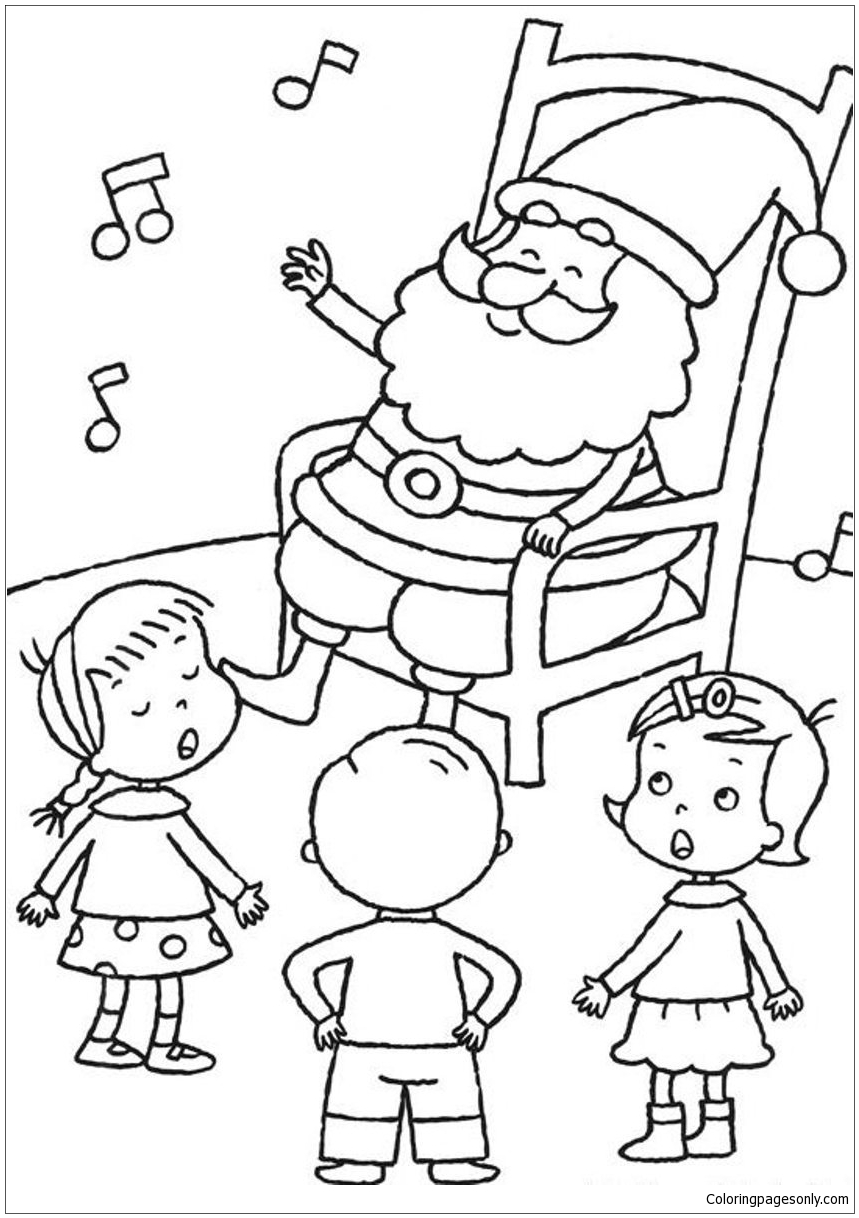 859x1218 Santa Listening Kids Singing Christmas Coloring Page