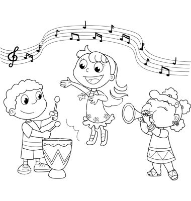 380x400 Group Of Children Singing Colouring Pages Ecm Color Sheets