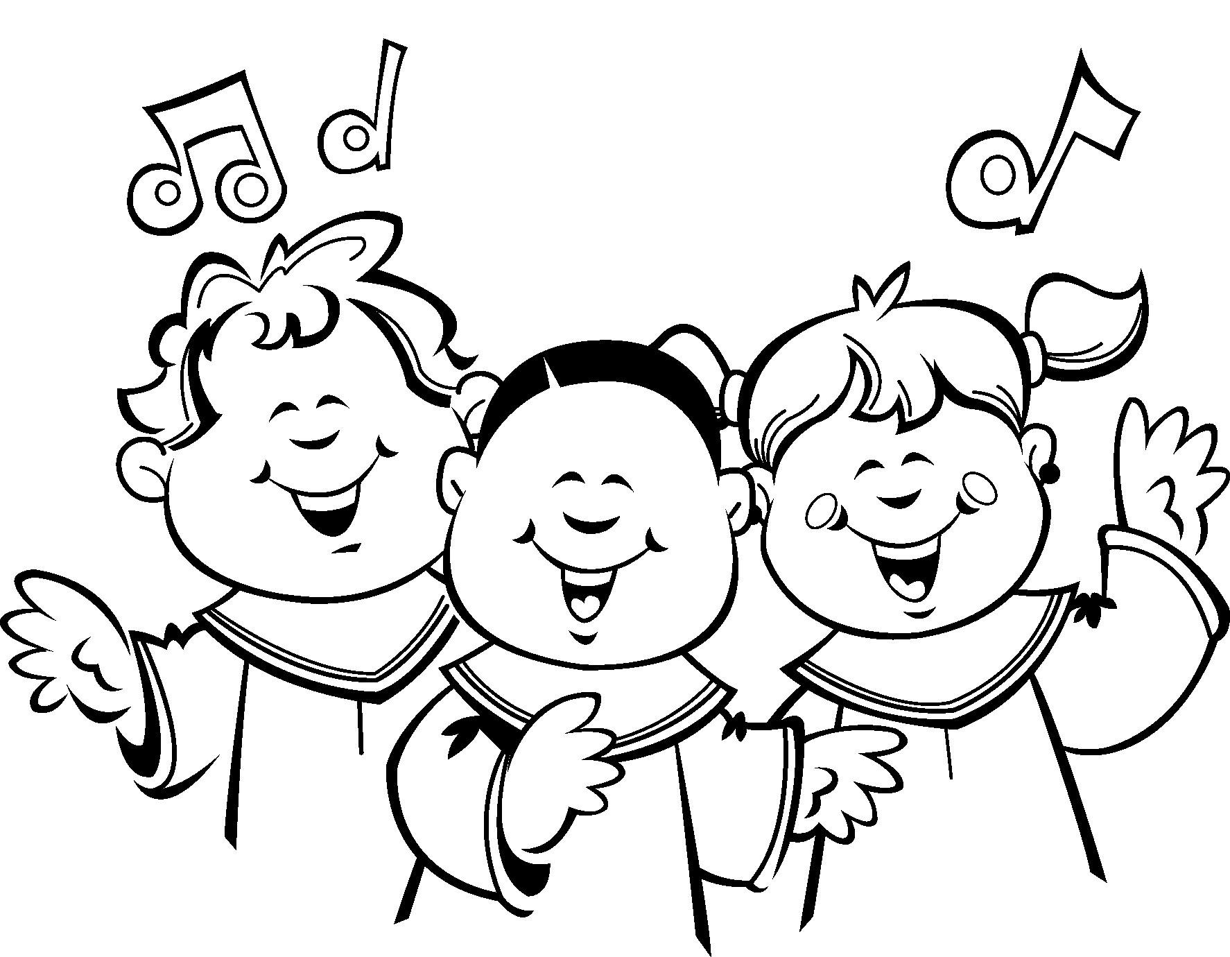 1774x1380 Children Choir Clip Art Sketch Coloring Page