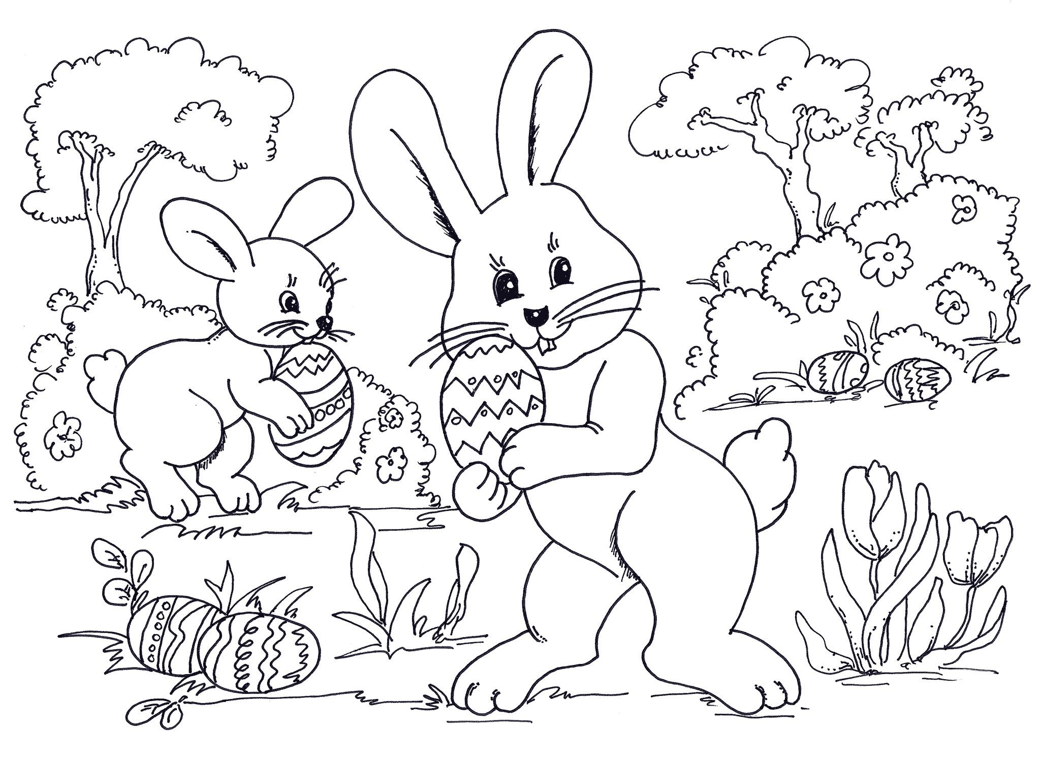 2049x1500 Easter Coloring Sheets Egg Hunting Bunnies Wallpaper Hd Holiday