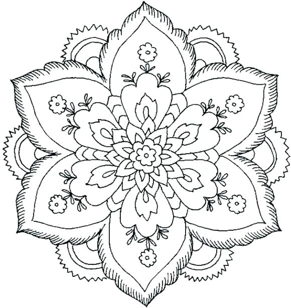580x615 Mandala Coloring Pages Flower Mandala Coloring Pages High