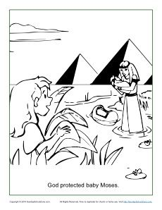 230x298 God Protected Baby Moses Coloring Page God Protected Baby Moses