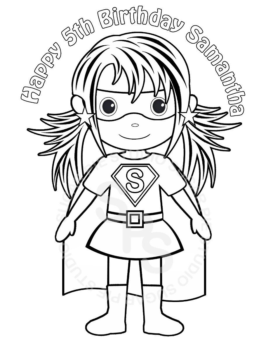 911x1179 Girl Superhero Coloring Pages Printable Birthday Party Favor