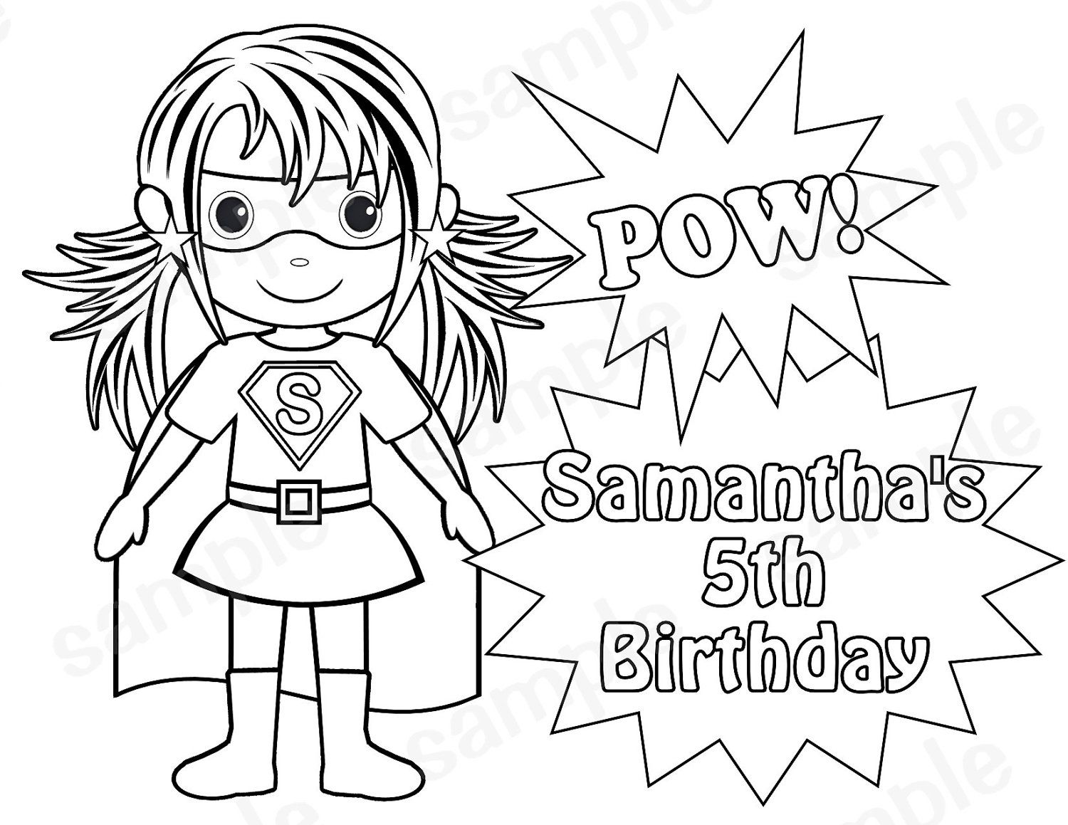 1500x1159 Personalized Printable Superhero Girl Birthday Party Favor