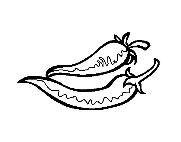 600x470 Chili Pepper Coloring Page