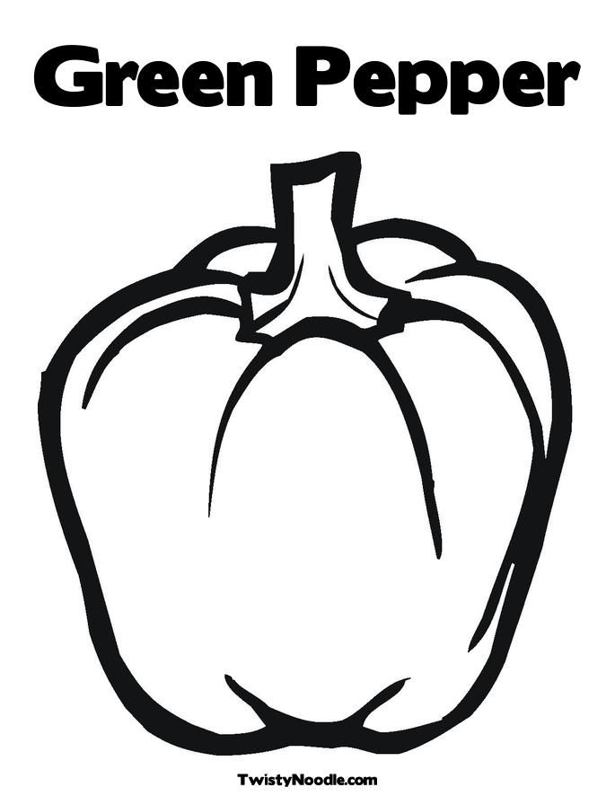 685x886 Green Pepper Coloring Page
