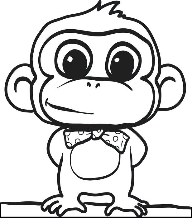 616x700 Chimpanzee Coloring Page Drawn Cartoon Color Baby Chimpanzee