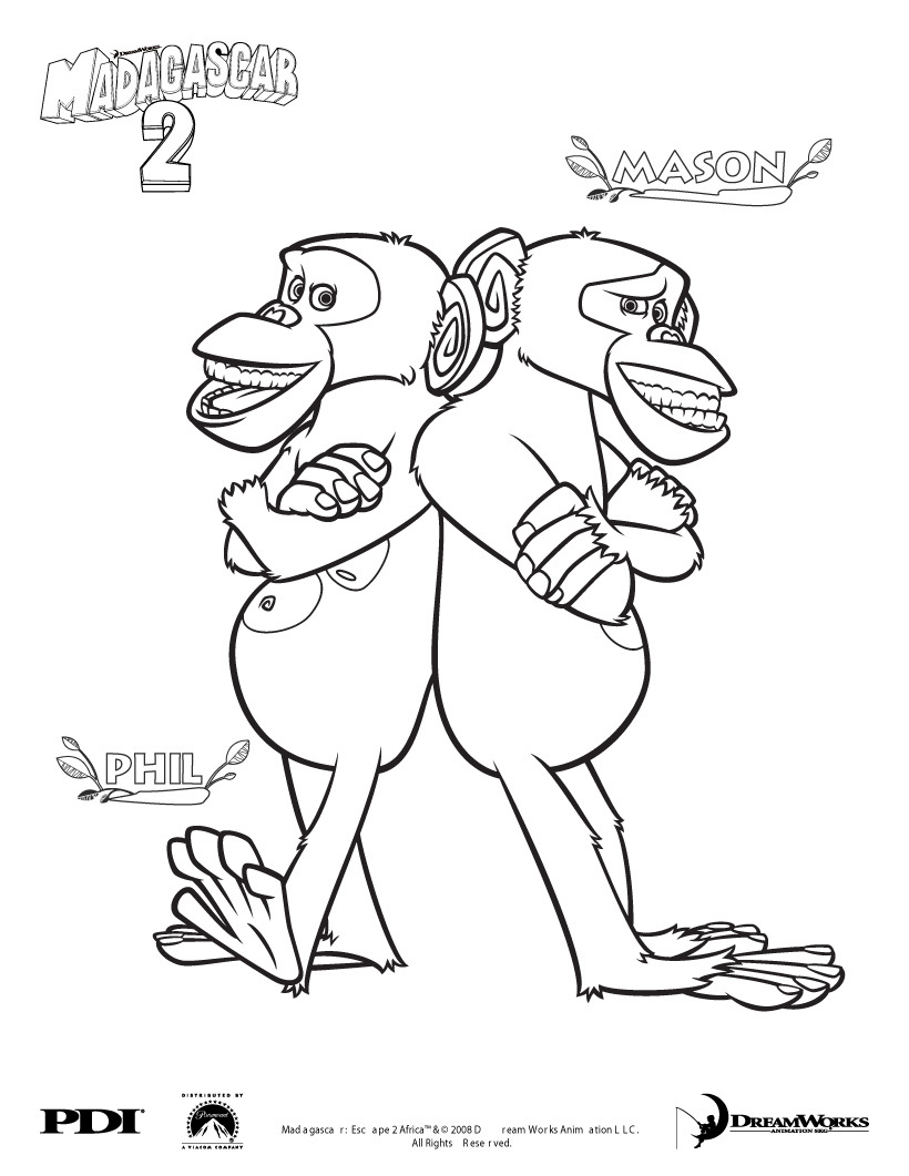 820x1061 Madagascar Chimpanzee Coloring Pages