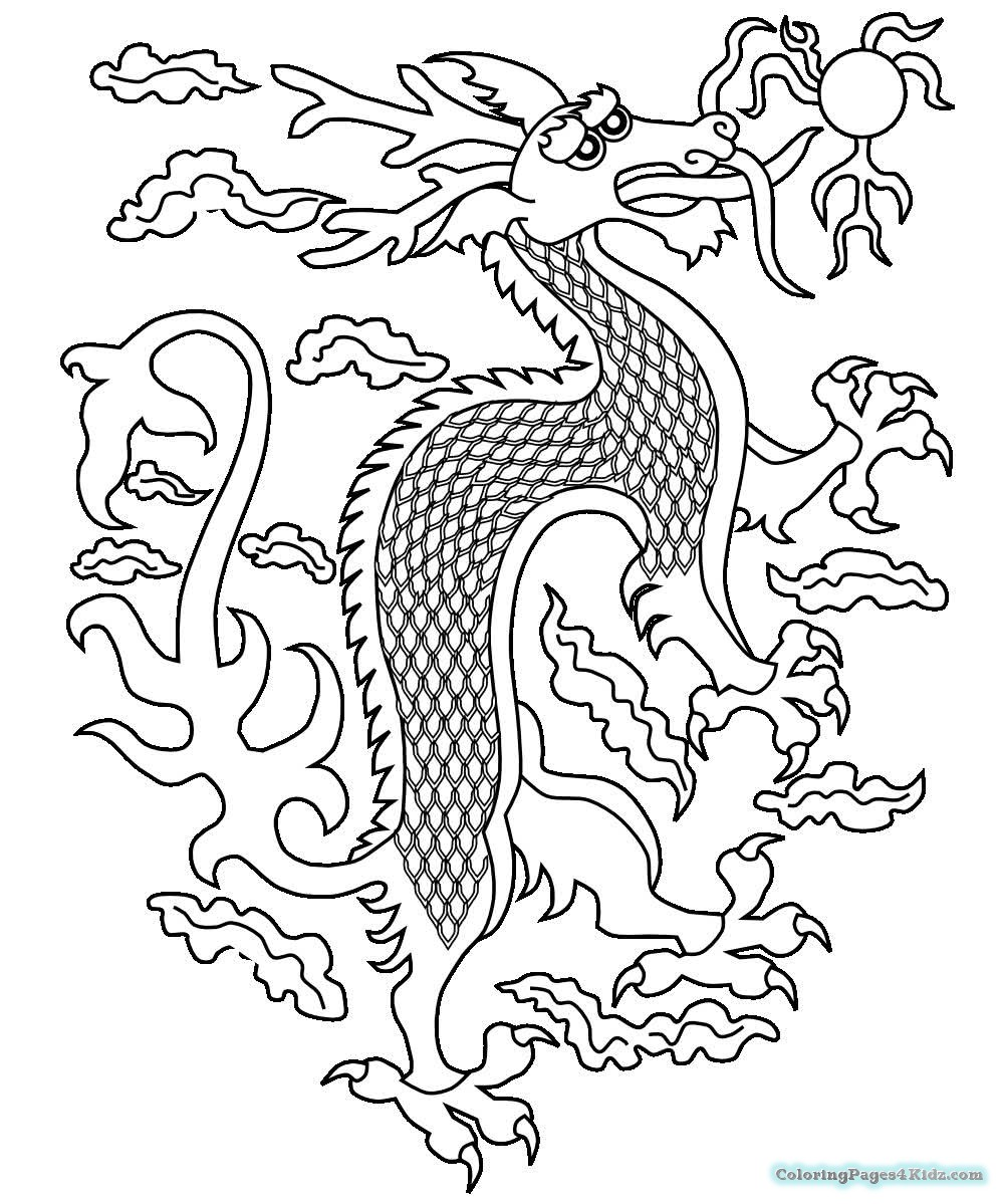 999x1199 Chinese Dragon Coloring Pages Minecraft Bike For Kids Inside
