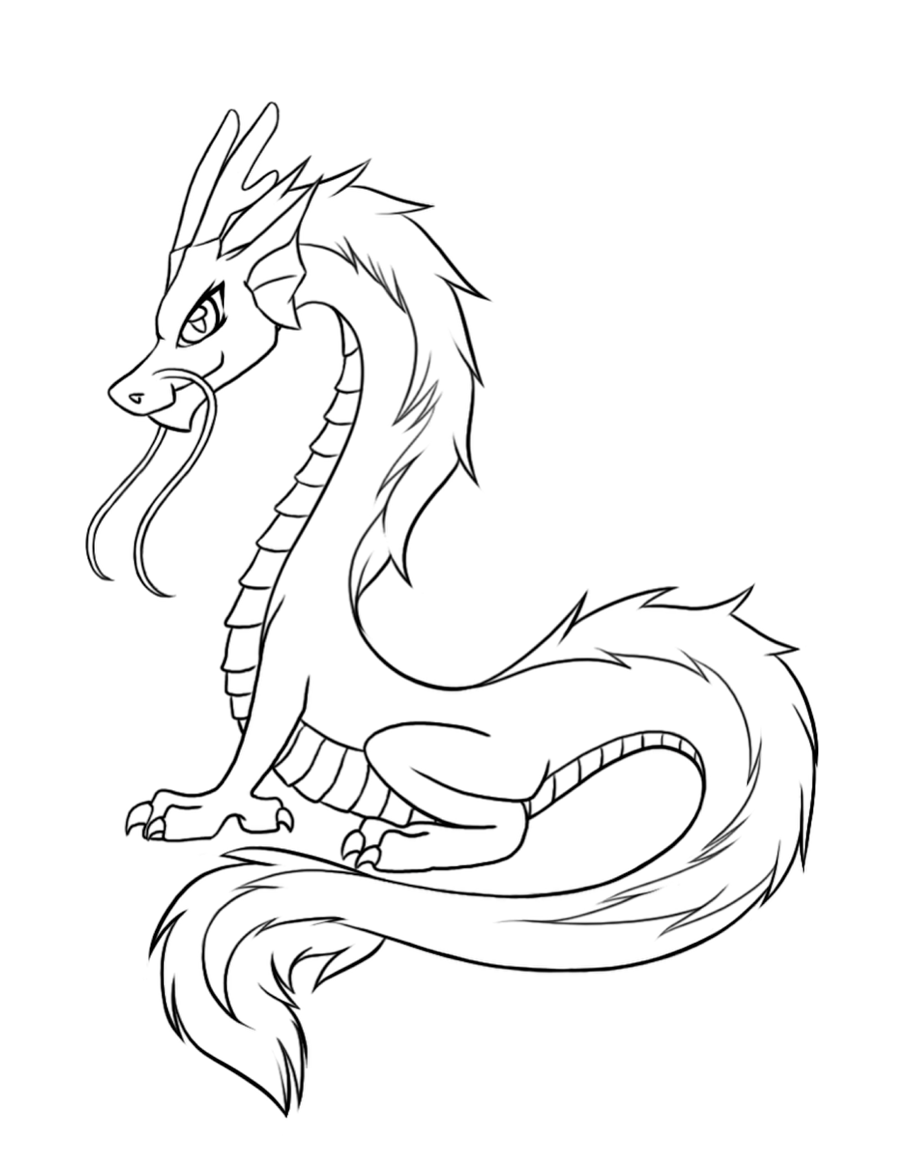 1275x1650 Chinese Dragon Coloring Pages Printable