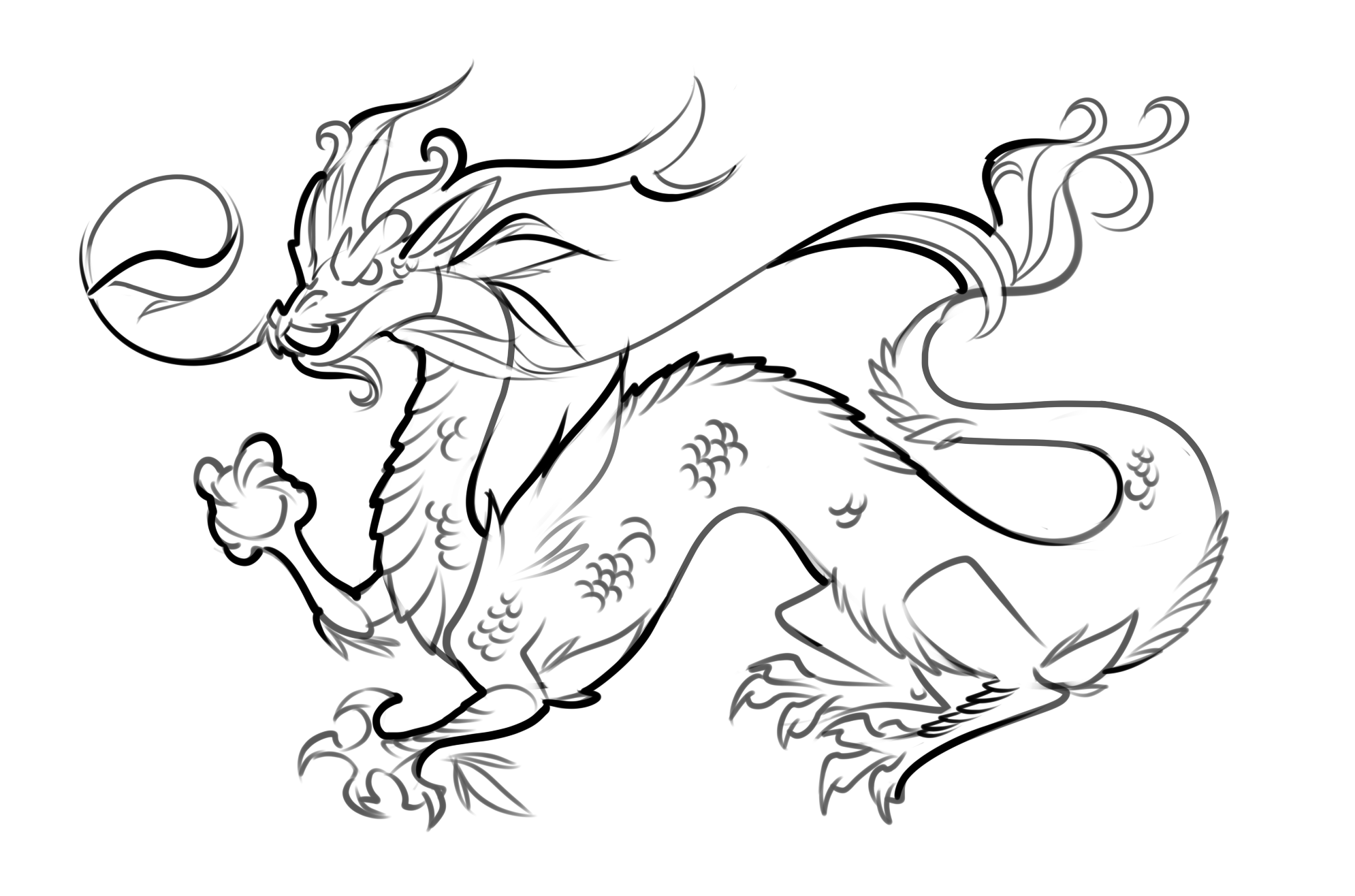 1990x1316 Japanese Dragon Coloring Pages With Chinese Dragons Coloring