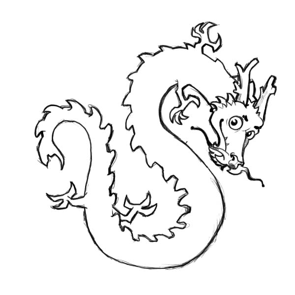 600x600 Cute Chinese Dragon Coloring Pages