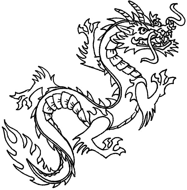 600x610 Flying Chinese Dragon Coloring Pages