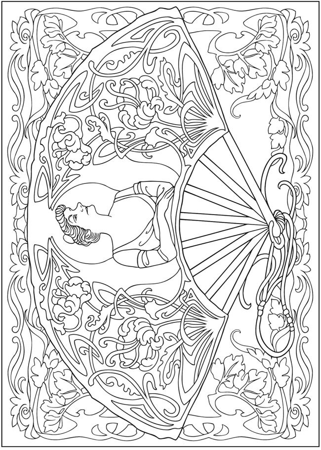 Chinese Fan Coloring Page