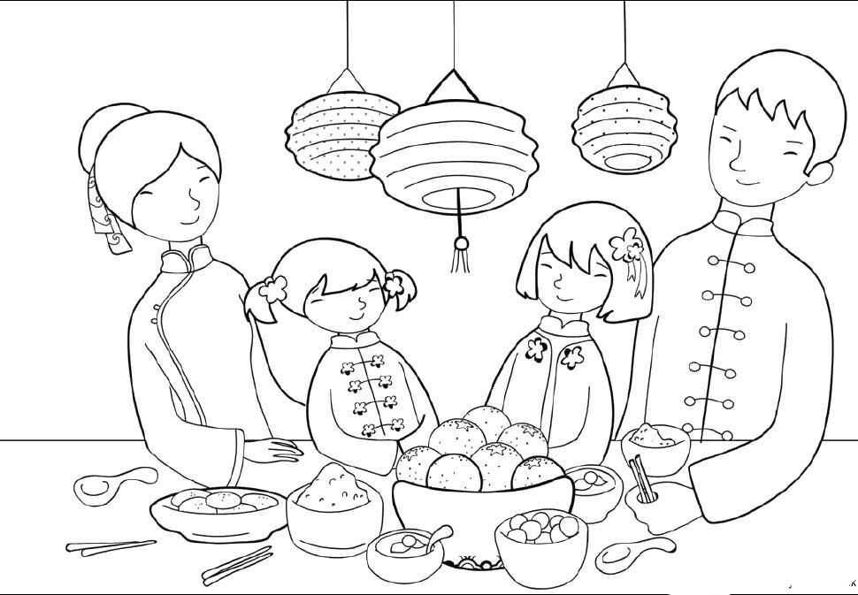 970x673 Food Party On Chinese New Year Day Coloring Pages
