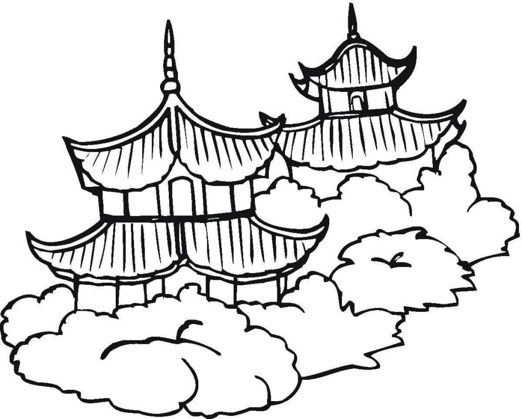 1024x821 Pagodas Chinese Culture Coloring Page