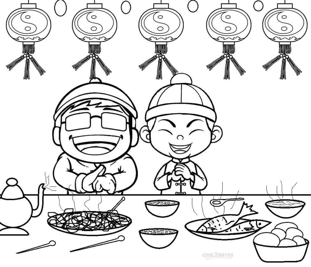 992x850 Printable New Year Coloring Pages