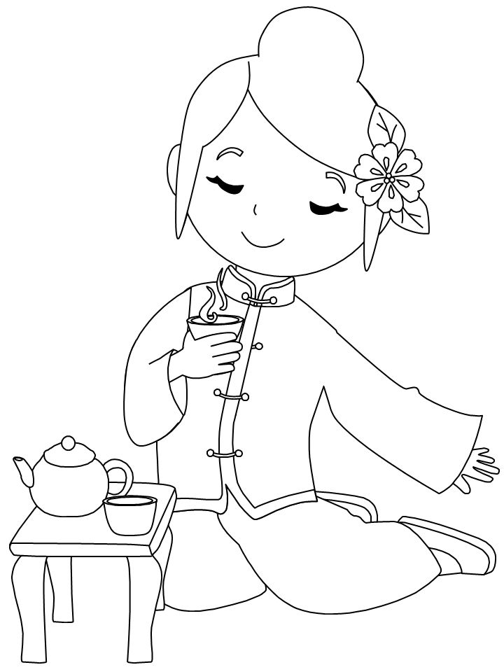 Chinese Girl Coloring Pages