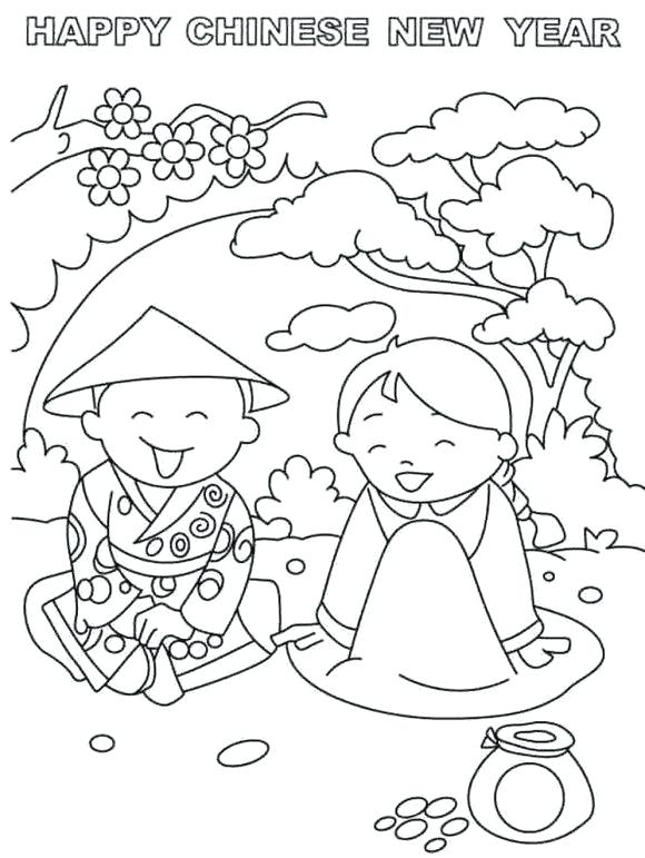 580x771 Coloring Pages For Chinese New Year New Year Colouring Page