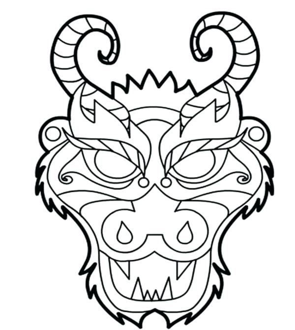 600x671 Chinese Dragon Head Coloring Sheet