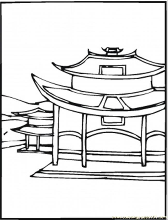 650x848 Village In China Coloring Page
