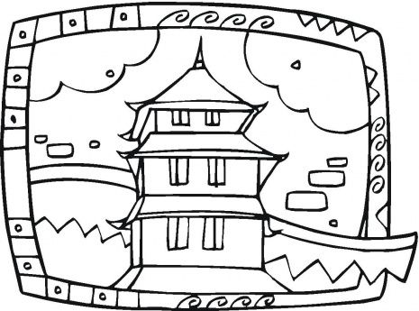 465x345 Buddhist Temple Coloring Page Coloring Pages