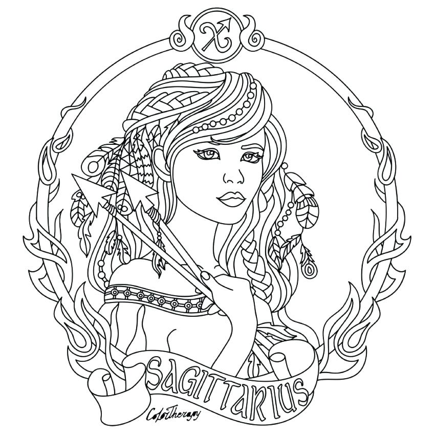 850x850 Zodiac Coloring Pages Zodiac Beauty Colouring Page Chinese Zodiac