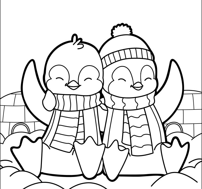 820x768 Winter Basic Penguin Coloring Page Sensational Printable Animals