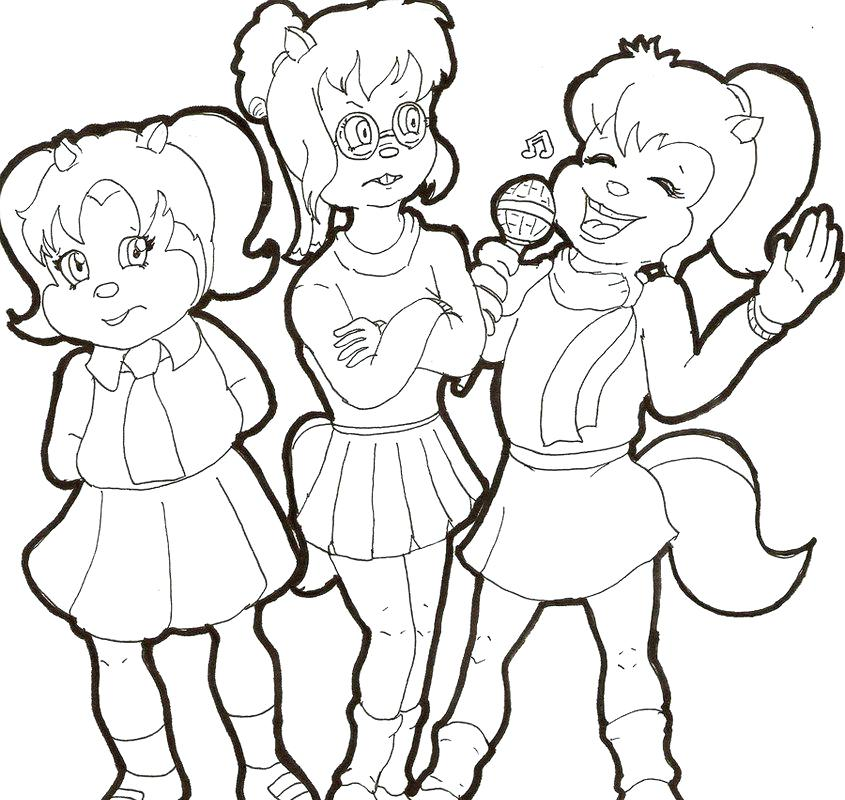 845x800 Chipettes Coloring Pages The Posing For Photo Coloring Page