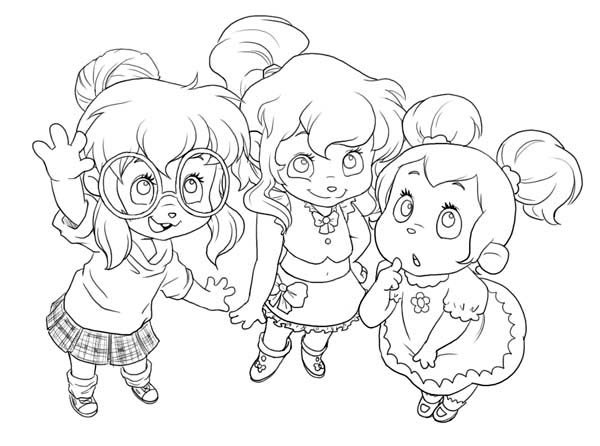 600x446 Cute Little The Chipettes Coloring Page