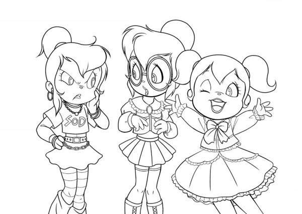600x425 Three Happy Chipettes Coloring Page