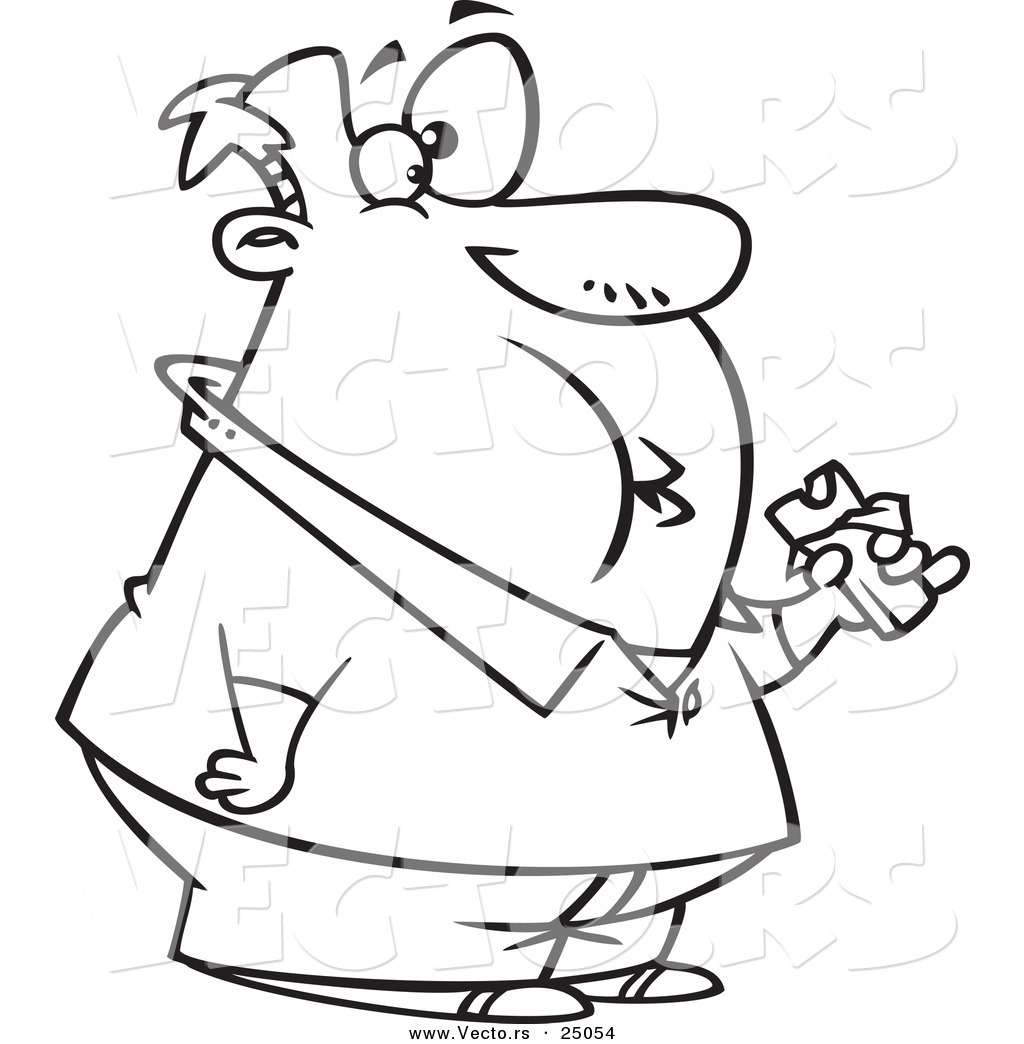 1024x1044 Vector Of A Cartoon Fat Man Eating A Chocolate Candy Bar
