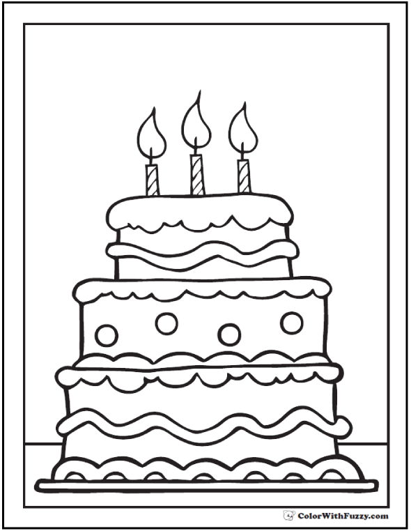 Chocolate Cake Coloring Page