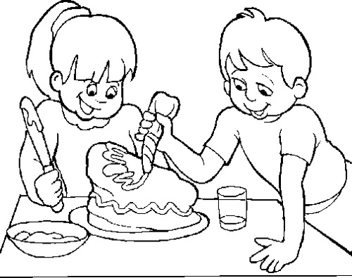 500x395 The Child Make A Cake Chocolate Coloring Page Chocolate
