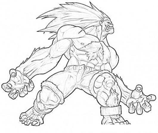 530x448 Blanka Street Fighter Coloring Page Para Pintar Colorear Dibujos