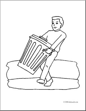 304x392 Clip Art Kids Chores Taking Out The Trash