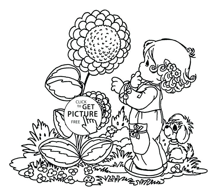 736x661 Free Spring Coloring Pages Big Spring Flower Coloring Page