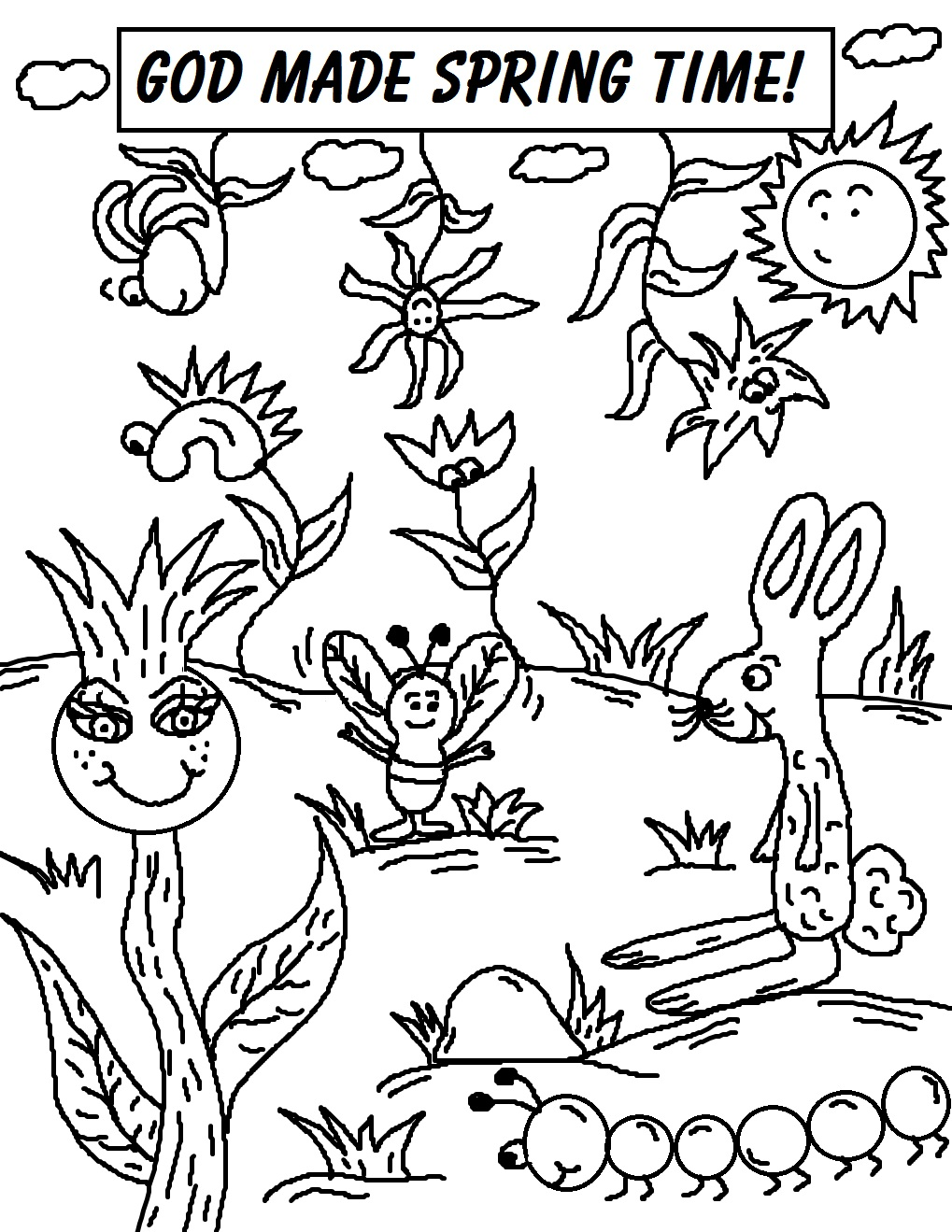 1019x1319 God Made Spring Coloring Page