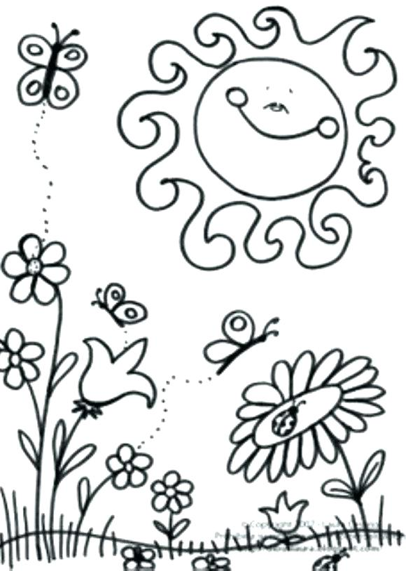 580x816 Free Spring Coloring Pages