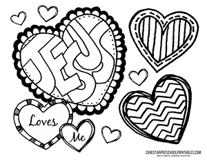 300x232 Coloring Pages Christian Valentines Day Coloring Pages