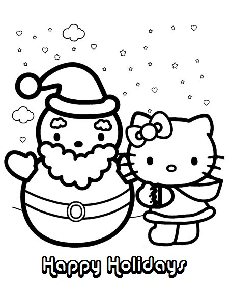 454x571 Hello Kitty Christmas And Winter Coloring Pages Of Happy Holidays