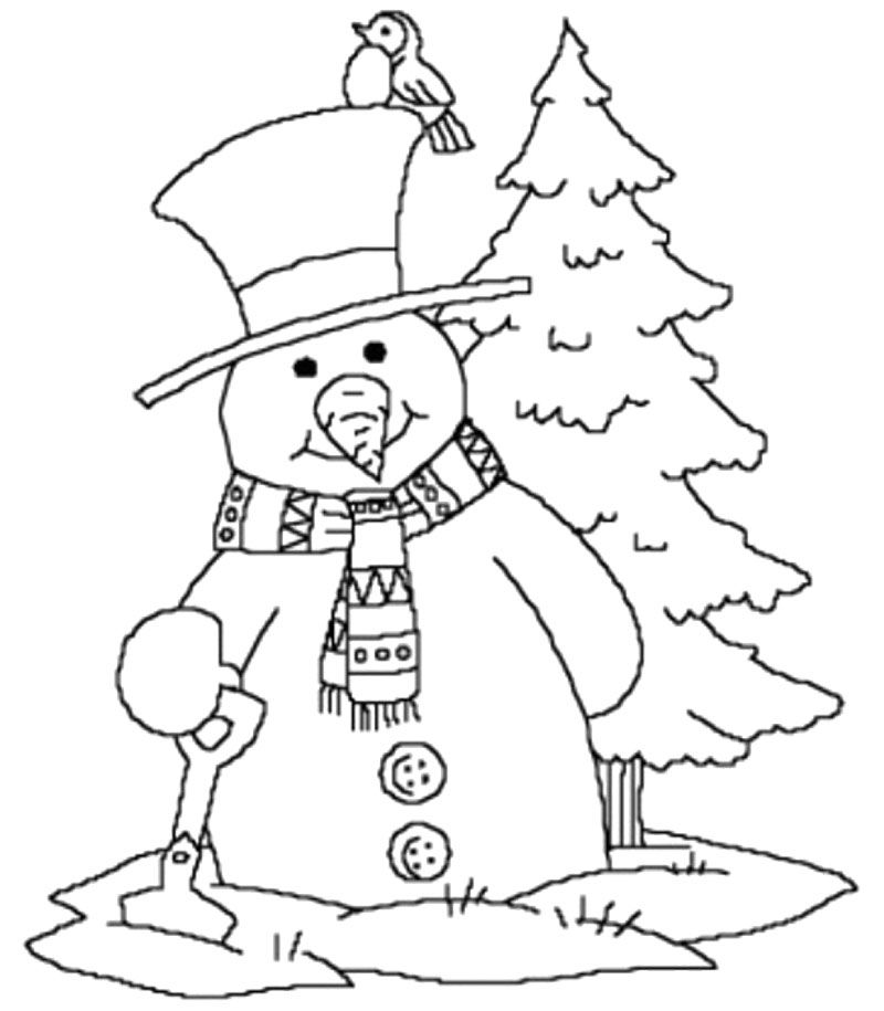 800x915 Snowman Near And Tree Christmas Winter Coloring Page Winter