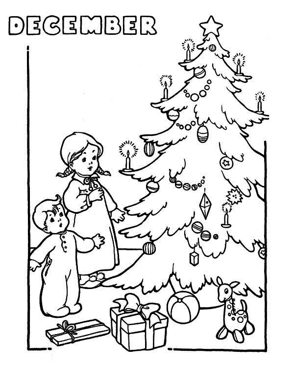 600x750 Two Kids Cheering The Christmas Trees On Winter Coloring Page