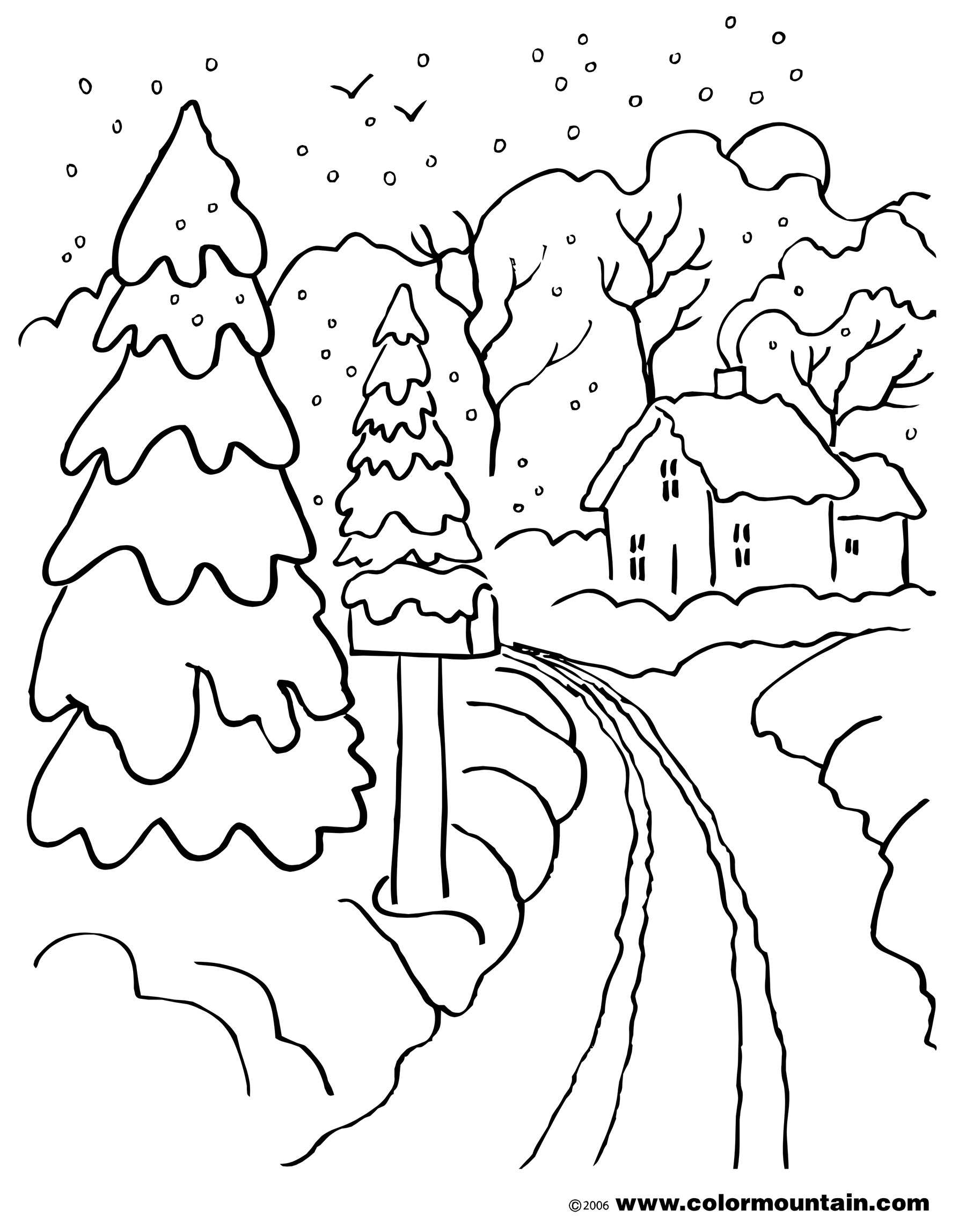1800x2294 Winter Scene Coloring Pages