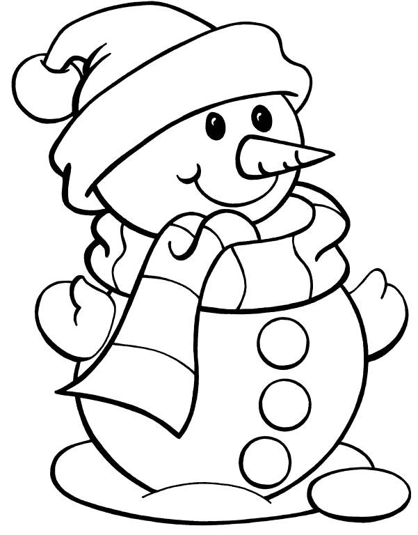 601x768 Christmas Color Page Snowman Snowman Wearing Hat Christmas
