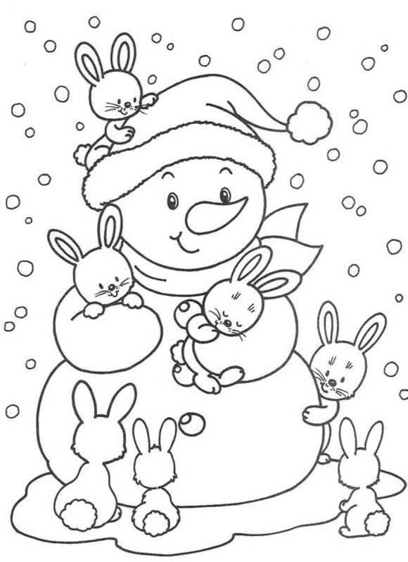 580x798 Cute Bunnies And Snowman Free Winter Coloring Pages