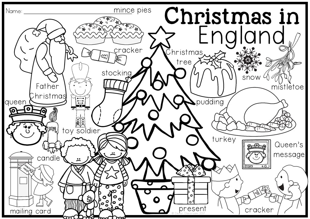 1017x720 Christmas Around The World Coloring Pages And Vocabulary Posters