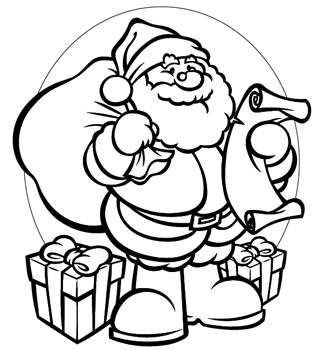 318x350 Santa Claus Christmas Printable Coloring Pages For Kids