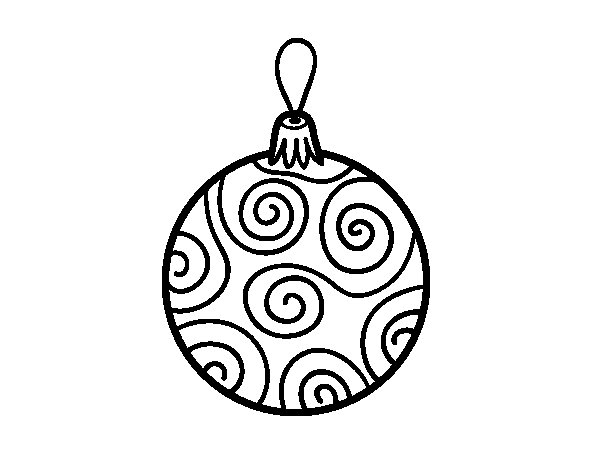 600x470 Decorated Christmas Tree Ball Coloring Page